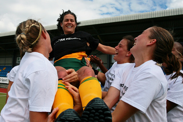 Pietee Coetzee is raised aloft after breaking the world goal-scoring record