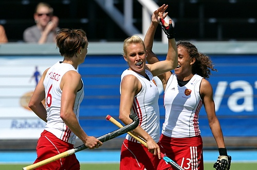 Alex Danson celebrates her strike against Germany