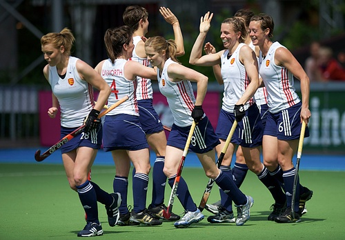 England celebrate one of their goals against Australia