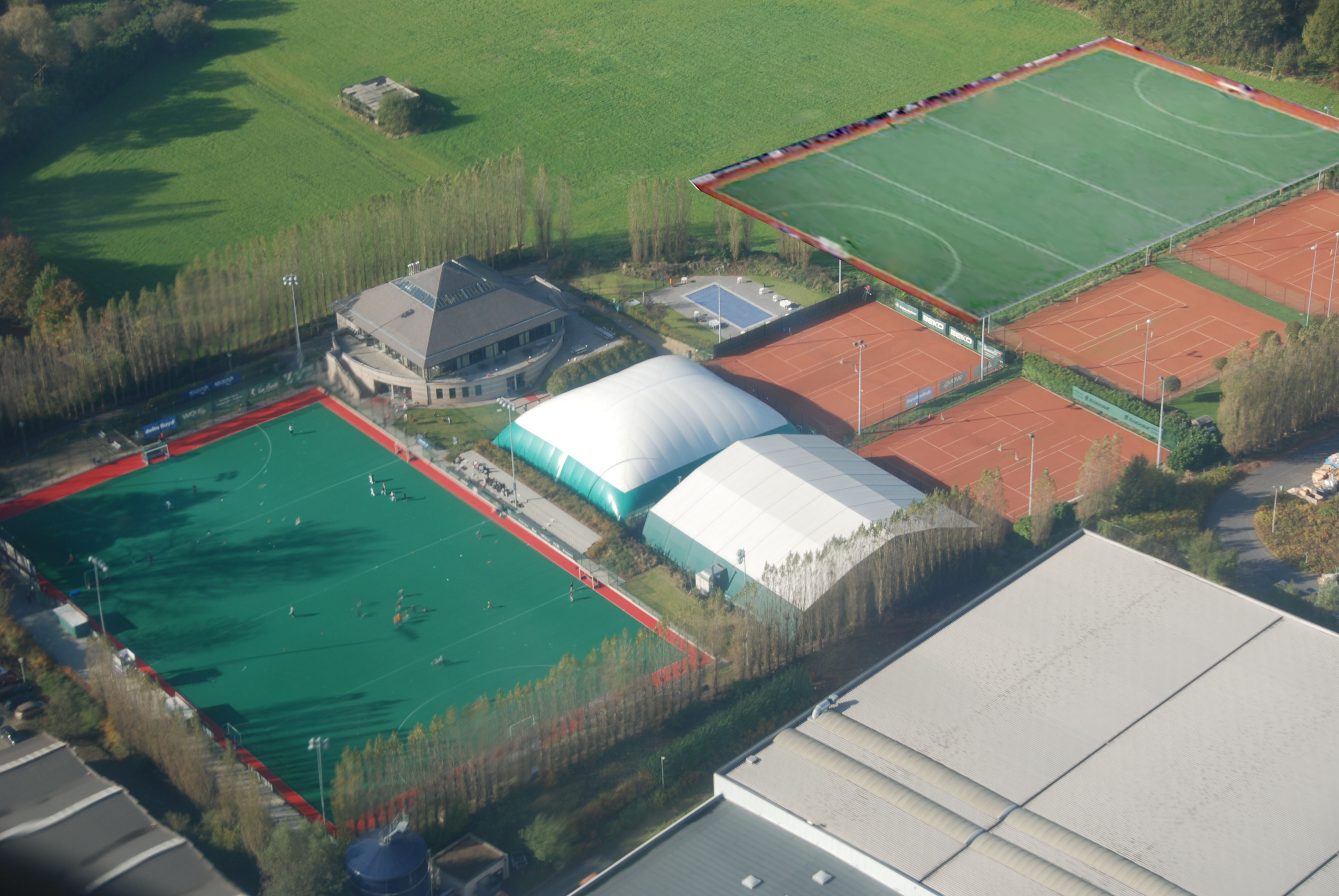 An aerial shot of the Beerschot hockey club in Kontich