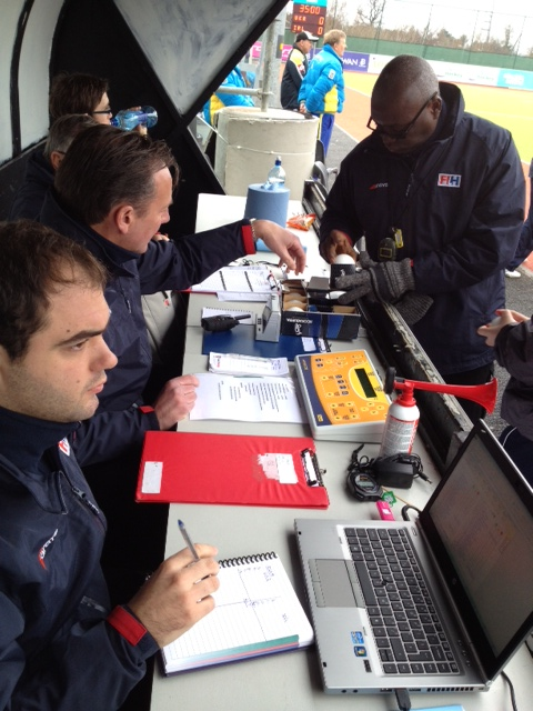 The Technical Table crew in action during the Ireland - Ukraine match.