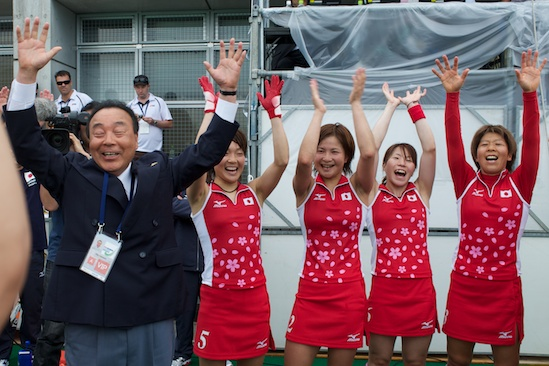 The Japanese women celebrate their third consecutive appearance in the Olympics.