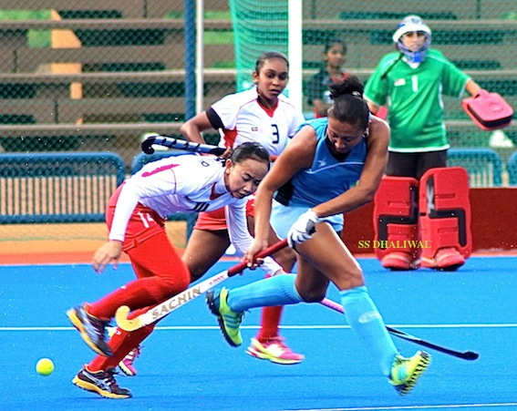 Action from Malaysia's 11-1 victory over Kazakhstan