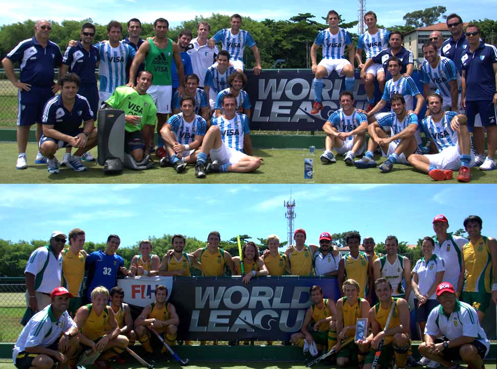 Argentina and South Africa celebrate their place in the Hockey World League Semi-Finals.