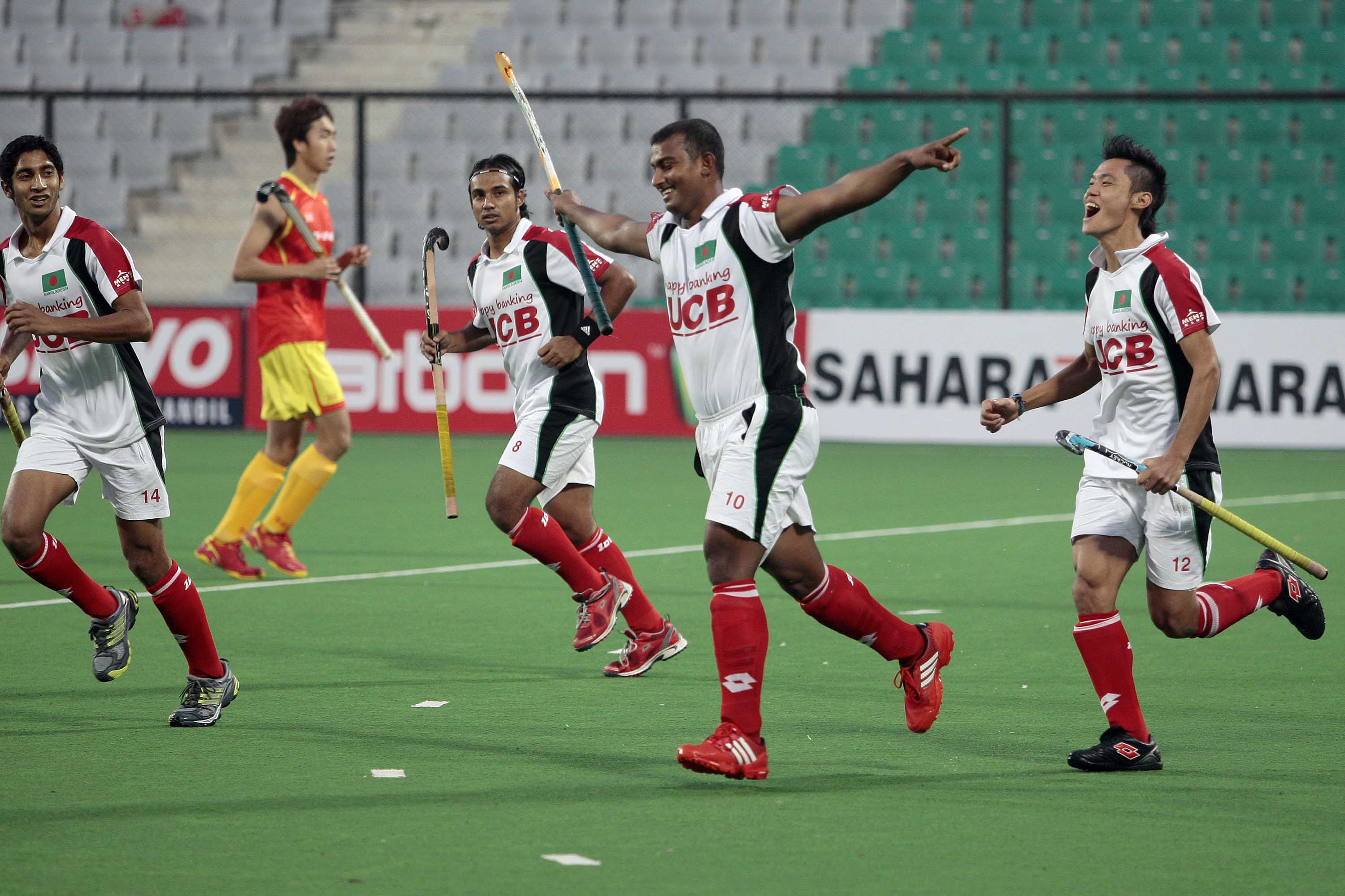 Bangladesh celebrate a goal during their win over China