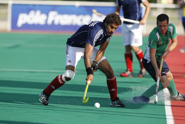 Action from France versus Ireland at the INSEP Hockey Challenge