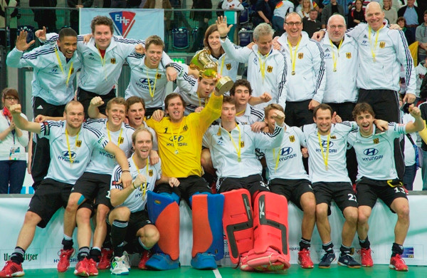 Germany men celebrate their 2012 European indoor title