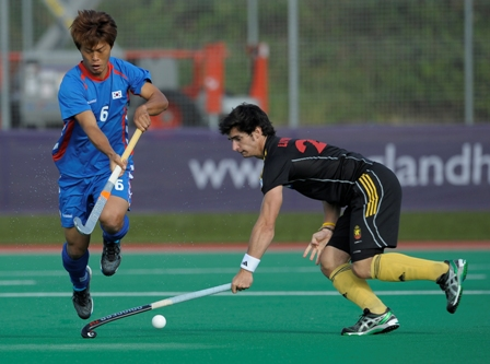 Action from Belgium versus Korea at the London Cup on Friday.
