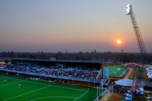 The sun sets over Bulawayo's refurbished Khumalo Hockey Stadium