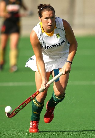 South Africa's Christine Roos takes the ball up during the second Test in Cape Town Wednesday.