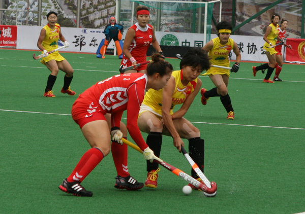 China and Korea women in action at the Asian Champions Trophy
