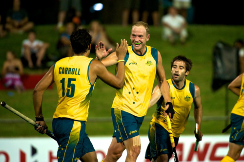 Luke Doerner celebrates his goal against Argentina