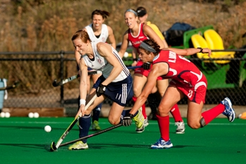 GB captain Kate Walsh in action against USA