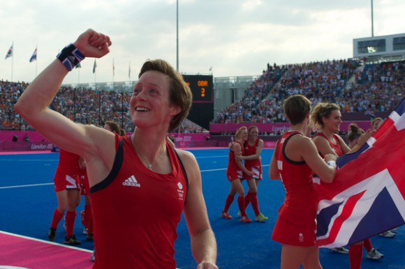 Hannah Macleod (left) celebrates after winning her bronze medal at London 2012