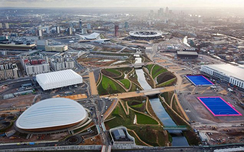 The visually striking hockey pitches within the Olympic Park.