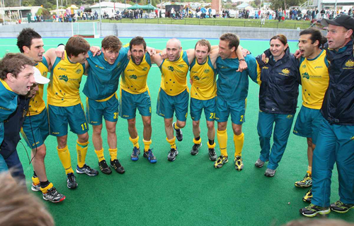 The Kookaburras celebrate claiming the Oceania Cup.