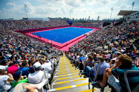 The Riverbank Arena, host venue of the London 2012 hockey competition.