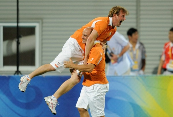 Marc Lammers celebrates winning Gold at the Beijing 2008 Olympic Games