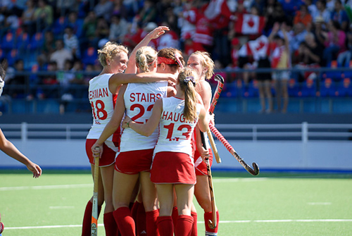 Canada celebrate victory on Day 1 at the Pan Am Games