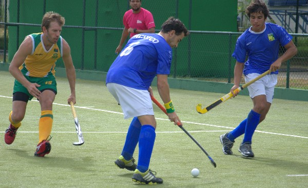 Action from South Africa's match against Brazil on the opening day of World League Round 2 in Rio de Janeiro.