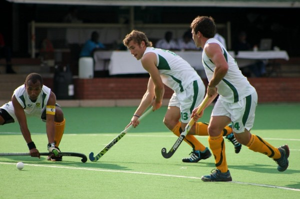 New South Africa men's senior team caps Robin Jones (left) and Matthew Guise-Brown (middle) in action for SA U21 in Randburg last month.