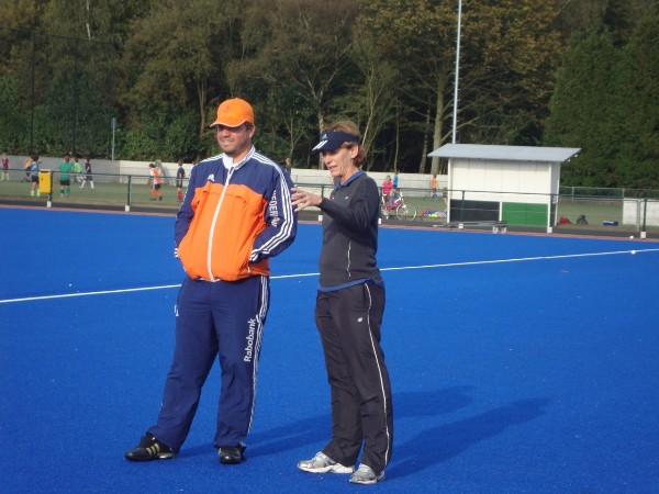 Dr Sherylle Calder (right) working alongside Netherlands coach Max Caldas. The partnership helped the Dutch win Olympic Gold at London 2012
