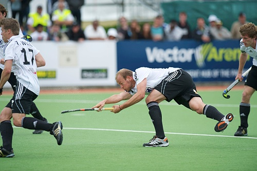 Germany's Thilo Stralkowski scores the winner against Great Britain.