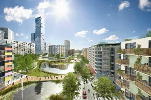 An artistic impression of the London Athlete's Village
